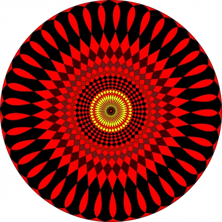 Enigmatic coloured mandala. In red and yellow color