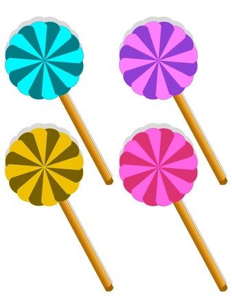 Yelow, blue, pink and violet sweet lollipop  Yum yum