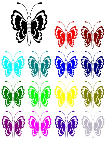 Beautiful butterfly silhouette in many colors  Meadow butterfly  Illustration