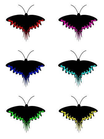Set of night dark black butterfly with stripes on wings