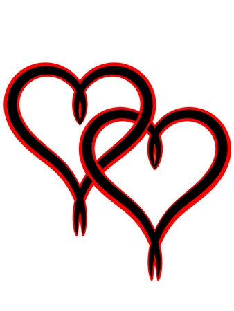 Two black intertwined Valentine heart with red colour