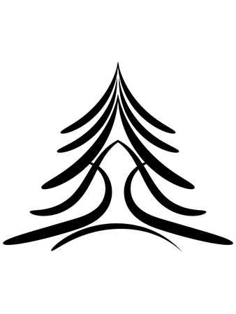 Profile of Christmas tree or black conifer Vector