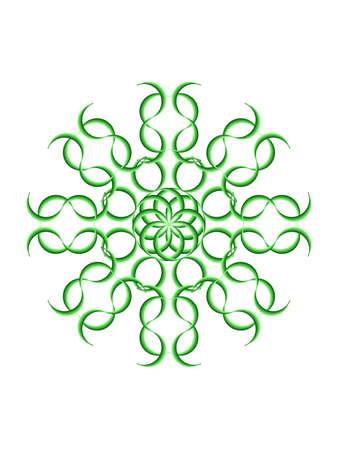 Nice green geometric mandala with white tinge photo