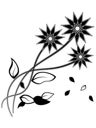 Black silhouette of three flower with falling leafs Vector