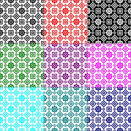 Geometric pattern  Black, red, white, pink, violet, green and blue  patterns   Illustration