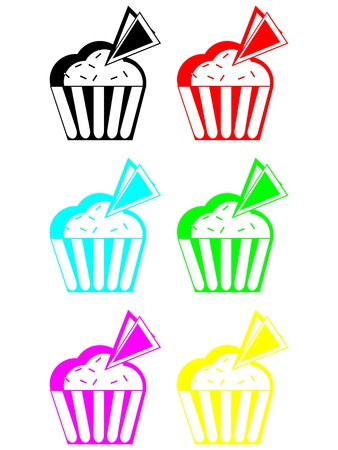 Set of cakes  Colored muffins  Icecream with wafer Vector