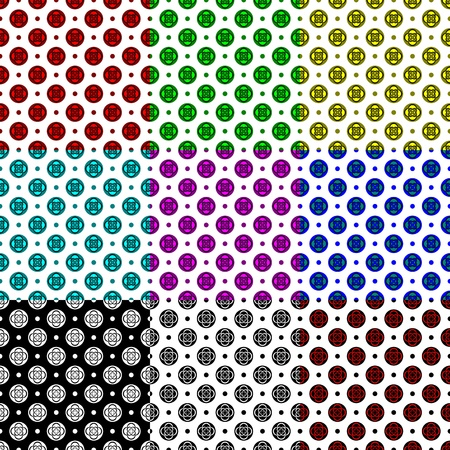 Set of patterns  Decorated circles with dots Stock Vector - 20161558