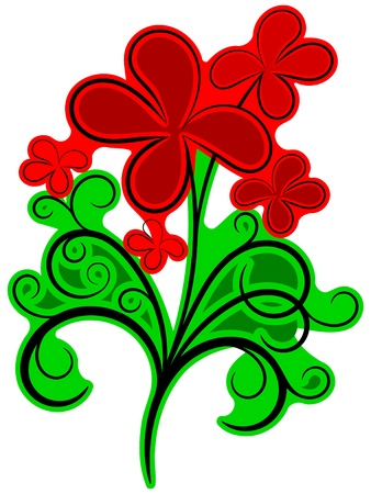 Black floral ornament with green and red colors Vector