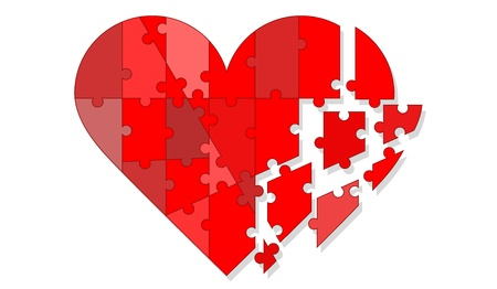 Red valentine puzzle heart, broken puzzle heart