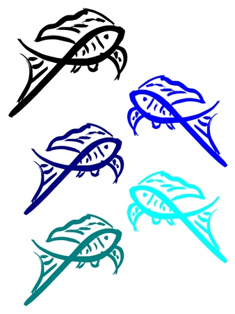 tiddler: Silhouette of goldfish. Fish in blue colors. Aquatic pet Illustration