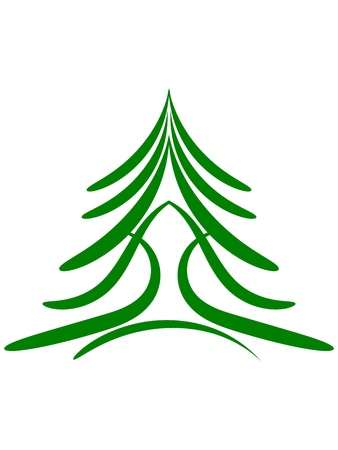 Profile of Christmas tree or green conifer Illustration