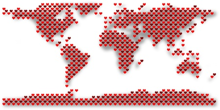 World map created by many red hearts Stock Photo