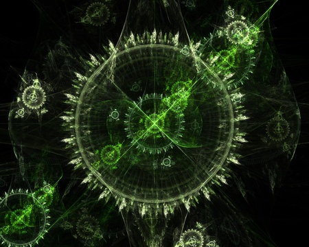 tock illustration: Greenish fractal on black background. Beautiful as wallpaper. Stock Photo