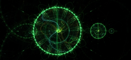 Greenish background. Abstract green circles. DNA and time photo