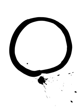 enso: Black zen circle with ink blob. Enso