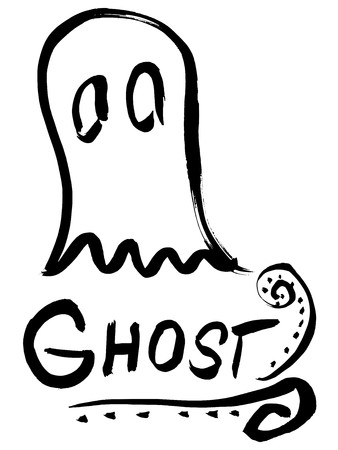 Black silhouette of awesome ghost with inscription Illustration