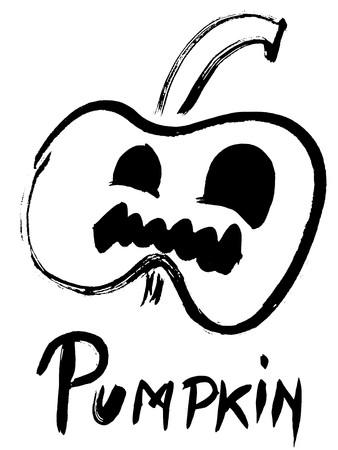 nightmarish: Black silhouette of scary pumpkin with inscription
