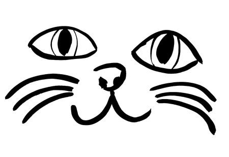 고양이 얼굴의 검은 실루엣. 야옹 야옹 일러스트