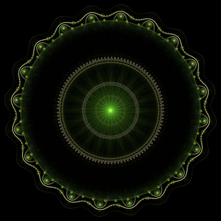 Beautiful green decorated circles on black background photo