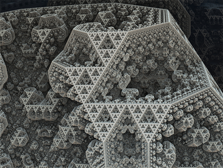 Sierpinski tetrahedron in fantasy fractal city  Grayscale background