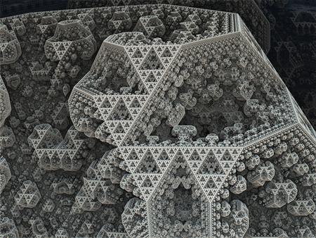 Sierpinski tetrahedron in fantasy fractal city  Grayscale background