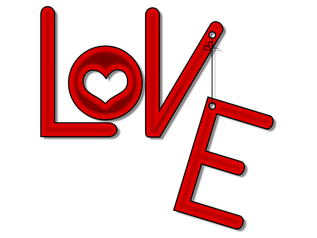 Inscription red love with heart and hanging letter Vector