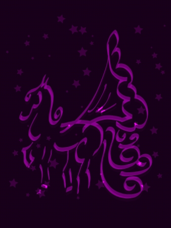 mythical: Beautiful and cute mythical horse Pegasus and stars