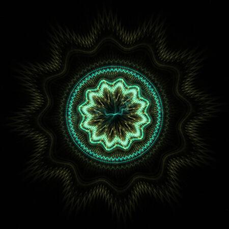 greenish: Abstract greenish fractal shape on black background Stock Photo
