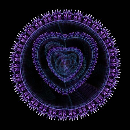 Abstract fractal shape with hearts on black background