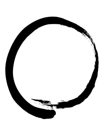 Black zen circle isolated on white background  Enso