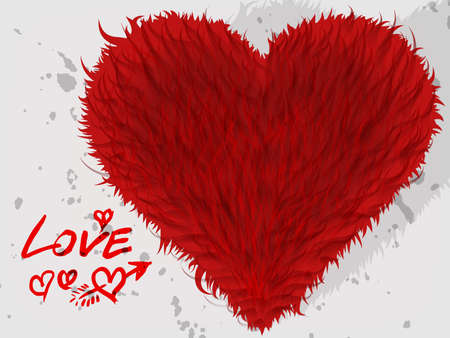 Cute red Saint Valentine furry heart with inscription Stock Photo