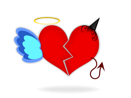 Devil or angel and broken red heart Vector