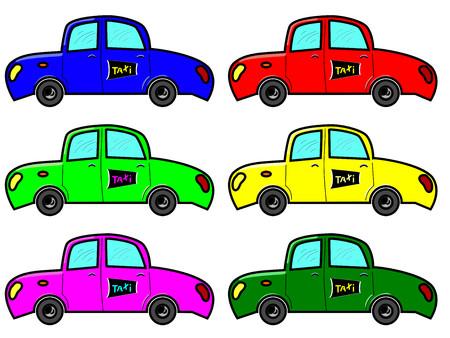 taxista: Taxi en seis colores con señal de taxi
