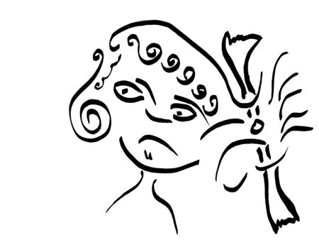 resentful: Head of angry girl with bow in hair