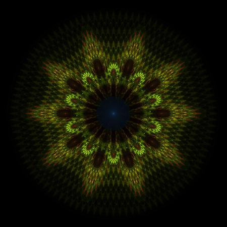 greenish: Abstract greenish fractal shape on black Stock Photo
