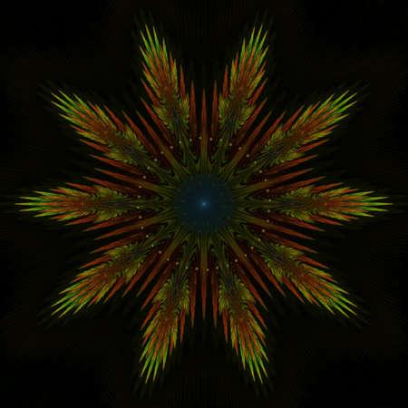 thrive: Abstract colored flourish shape on black Stock Photo