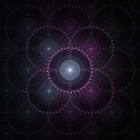 layered sphere: Abstract violet fractal shape on black