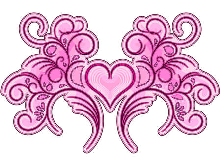Flourish valentine ornament in pink and violet color Vector