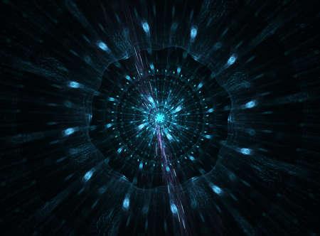 implosion: Blue mandala fractal shape on black background