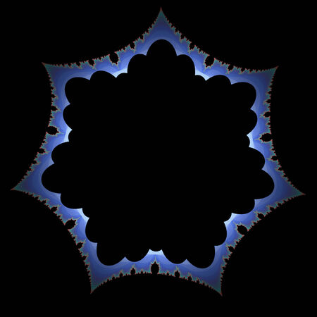 heptagon: Abstract blue star shape on black background