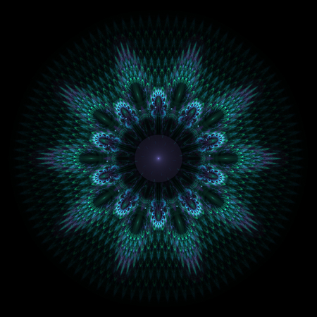 Abstract bluish fractal shape on black background photo