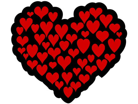 Valentine heart made by little red hearts Vector
