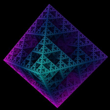 Sierpinski octahedron in violet and bluish colors on black