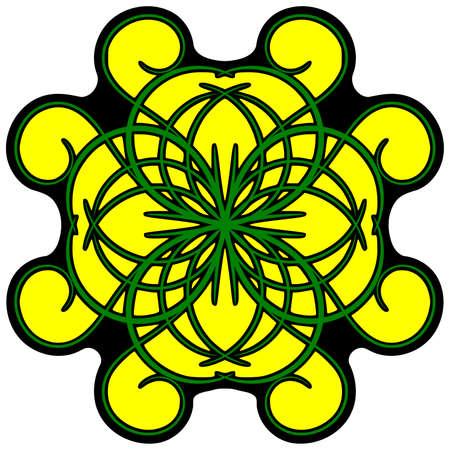 curlicue: Flourish yellow ornament, colored decorated yellow ornament