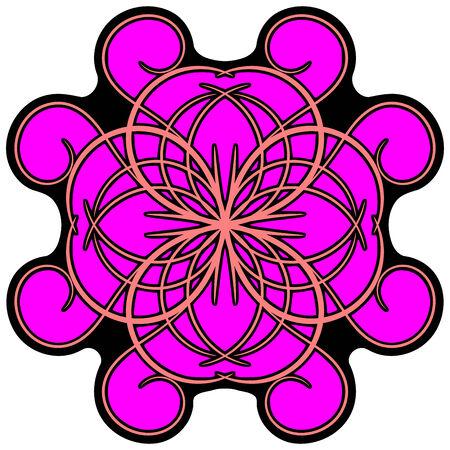 curlicue: Flourish pink ornament, colored decorated pink ornament