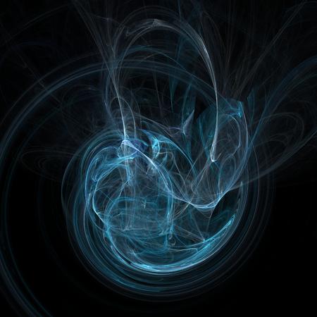electrifying: Dark blue fractal shape on black background