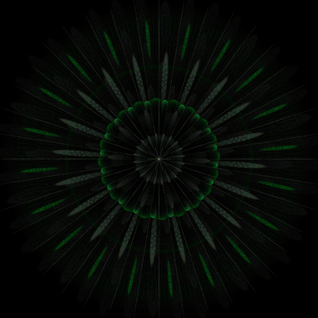 stellate: Abstract greenish fractal shape on black background Stock Photo