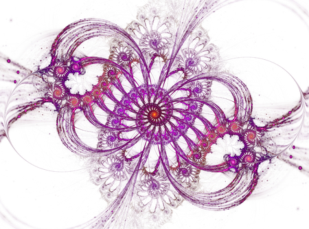 Cute violet abstract spirals on white background Stock Photo