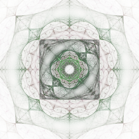 greenish: Abstract greenish fractal shape on white background