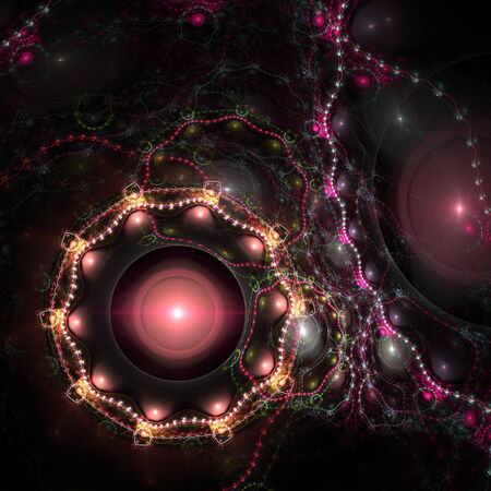 Colorful abstract fractal shapes on black background Stock Photo